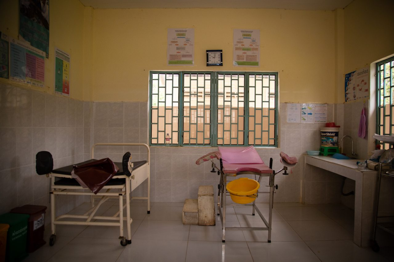 Delivery room in a rural health centre in Preah Vihear, Cambodia